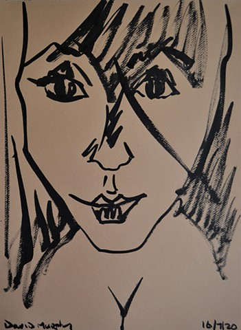 2020, Sketch of Girl No. 4, Indian ink, david murphy, ireland, dublin