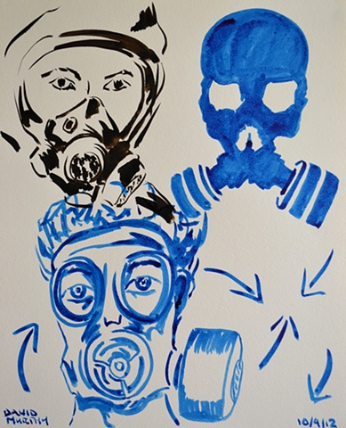 Gas Masks, David Murphy, Irish, Ireland, Artist, Painter, Draughtsman,