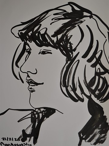 Dream Girl No.1, brush and Indian ink, drawing, portrait, david murphy, irish, ireland