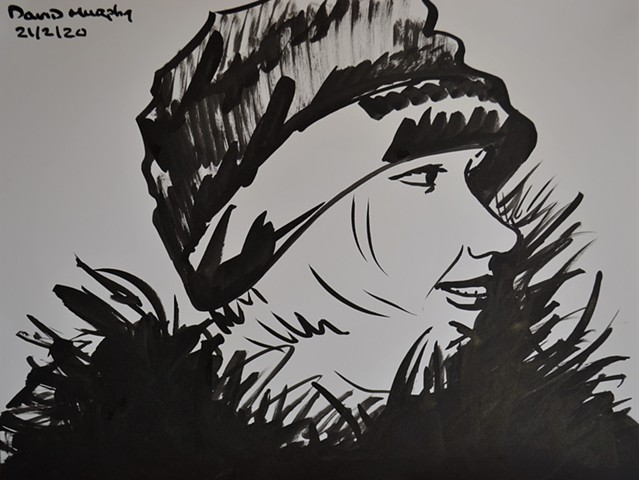 Woman in Furs No. 1, brush and Indian ink, drawing, portrait, david murphy, irish, ireland