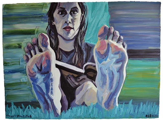 Girl Showing Her Feet No. 2, foot, feet, oil paint, paper, david murphy, ireland, dublin
