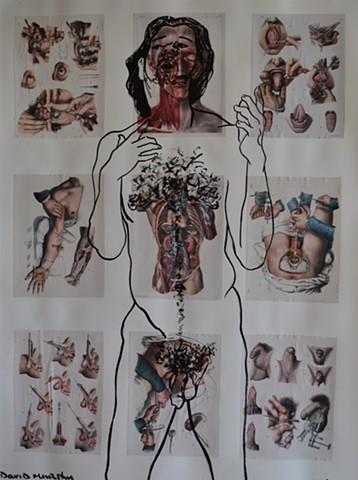 Self-Portrait Within Culture No. 7, david murphy, collage, drawing, indian ink