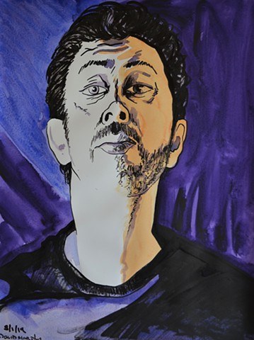 Self-Portrait in Blue and Purple No. 1, watercolour, indian ink, david murphy, artist, ireland, irish, dublin