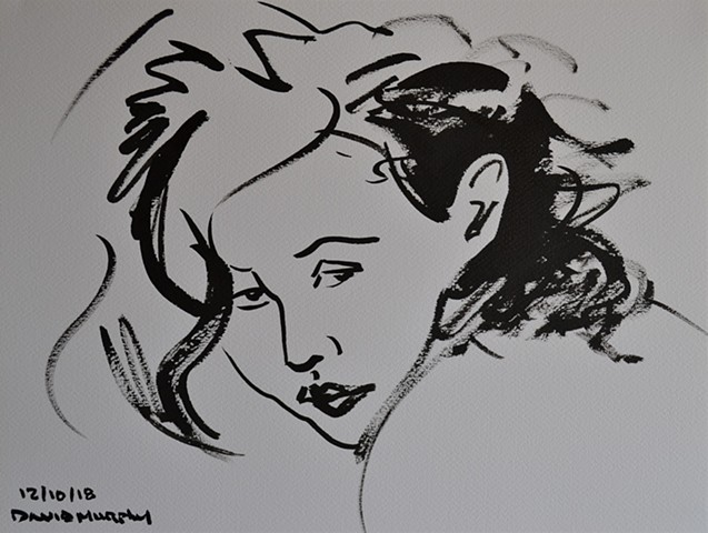 Mad Beauty, brush and indian ink, drawing, female, woman, david murphy, irish, ireland,