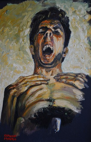 Self-Portrait With Hands Over Chest, alkyd, expressionism, neo-expressionism, cypher, david murphy, ireland, dublin, irish