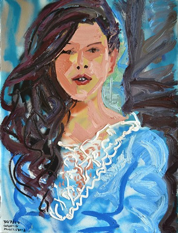 Woman in Blue Dress, david murphy, oil and spray paint