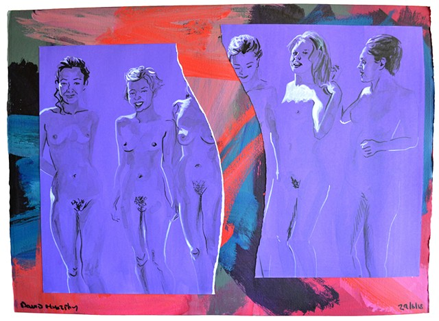 Five Nudes, David Murphy, Irish, Ireland, Dublin, painting, new, contemporary, porn, erotic, sex