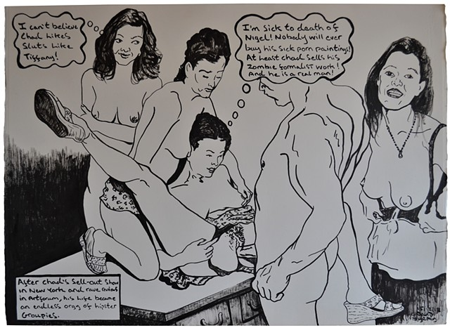 Chad and the art groupies, erotic, cartoon, satire, porn, text, david murphy, irish