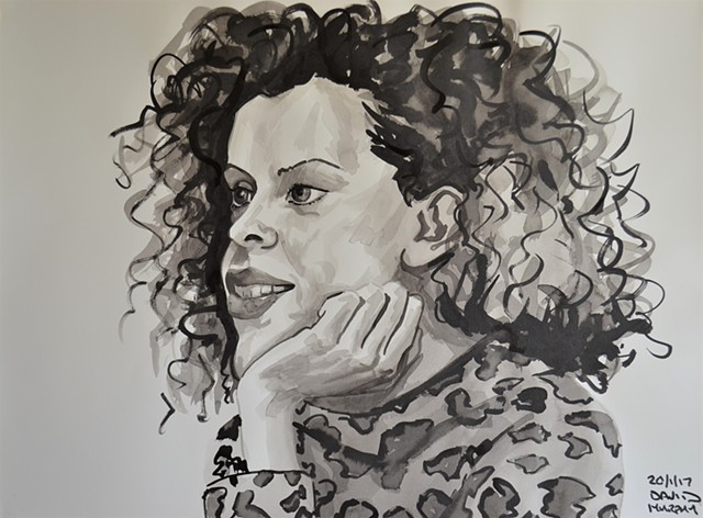 Girl With Curly Hair No. 1, drawing, indian ink, David Murphy, Ireland, Irish, dublin