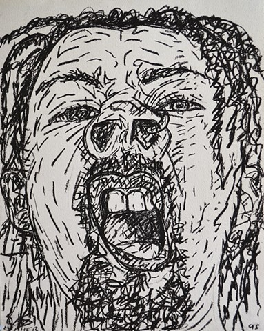 Self-Portrait Snarling With Dreeds, david murphy, 1995