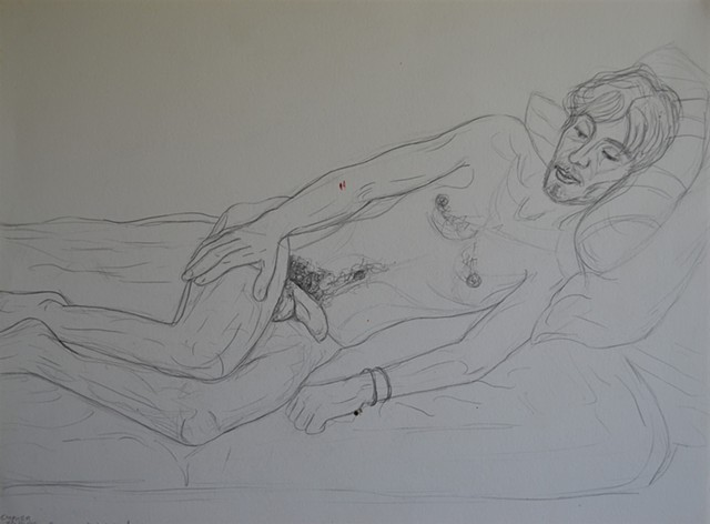 male nude, pencil, drawing, david murphy, cypher, the panic artist