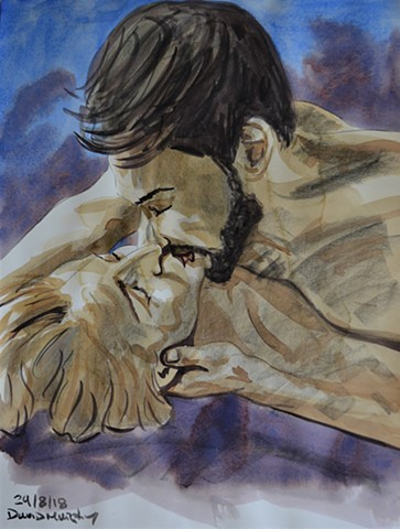 The Kiss, watercolour, conte crayon, david murphy, irish, ireland, dublin