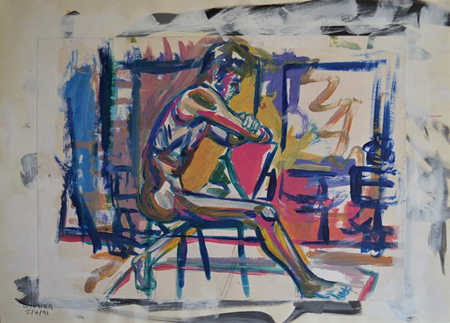 City Arts Centre Life Painting of Seated Male Nude, david murphy, ireland, dublin