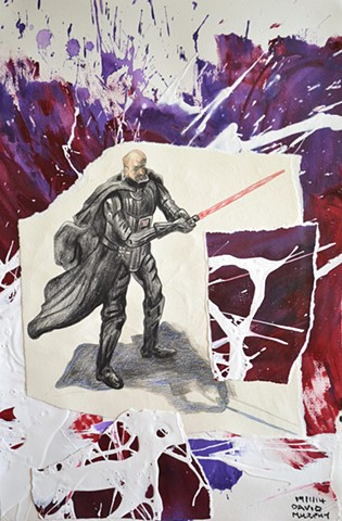 Darth Vader's Last Stand, 2014, painting, collage, drawing, david murphy