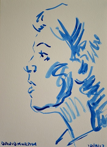 Female Head Sketch No. 2, David Murphy, Irish, Ireland, Artist, Painter, Draughtsman,