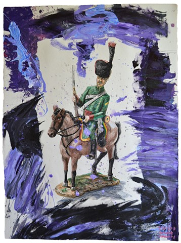Hussar, 2013, painting, collage, drawing, david murphy