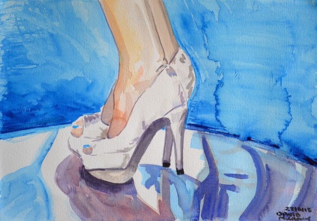 White High Heels, watercolour, wet in wet, david murphy
