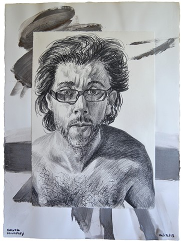 Bare Chested Self-Portrait No. 1, 2013, painting, collage, drawing, david murphy