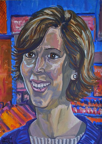 Smiling Woman, portrait, gouache and watercolour, david murphy