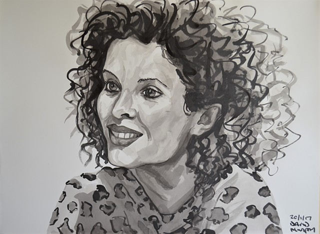 Girl With Curly Hair No. 3, drawing, indian ink, David Murphy, Ireland, Irish, dublin