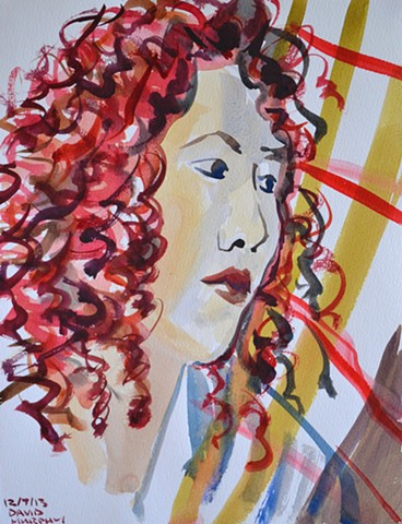 Redhead Muse, watercolour, wet in wet, david murphy