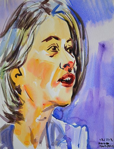 Happy Woman, watercolour, wet in wet, david murphy