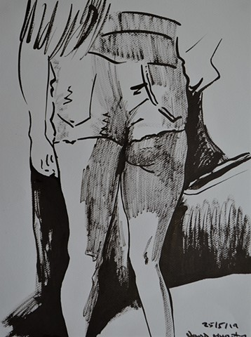 Woman in Shorts, drawing, Indian ink, erotic, david murphy, Irish, Ireland