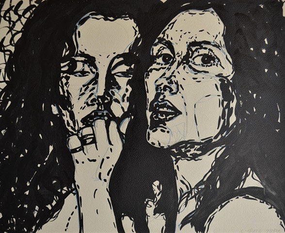 two women, nightclub, indian ink, drawing, affordable art, reasonable art