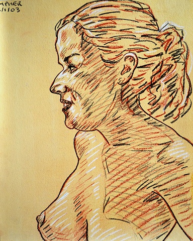 Topless Girl in Profile, reasonable priced art, value art, David Murphy, Cypher, The Panic Artist