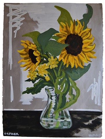 Sunflowers Against Silver Background No. 2