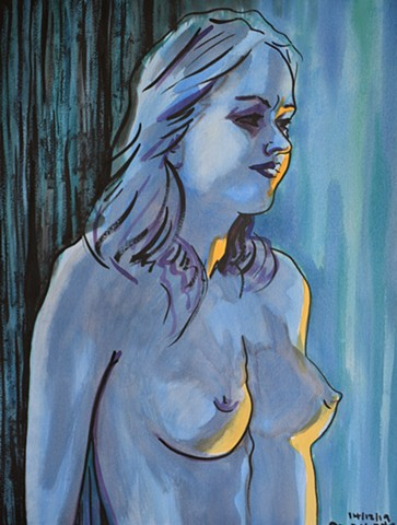 Blue Nude, erotic, drawing, watercolour, david murphy, irish