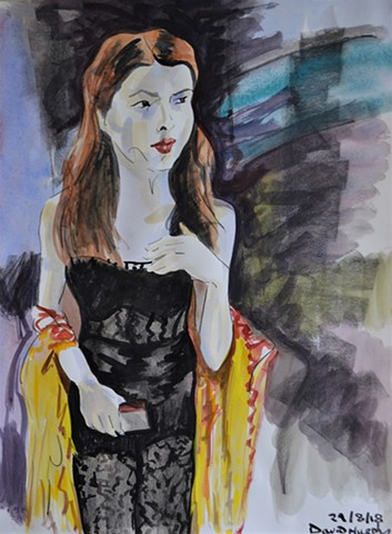 woman about town, female, portrait, david murphy, watercolour,
