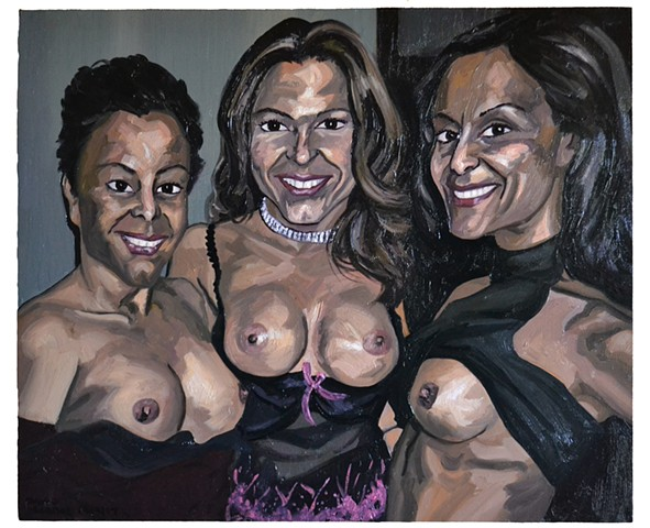 Three MILFs, david murphy, cypher, oil on wood, new, realist