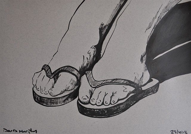 Woman's Feet in Flip-Flops No. 1, drawing, erotic, porn, brush and ink, david murphy, irish, ireland