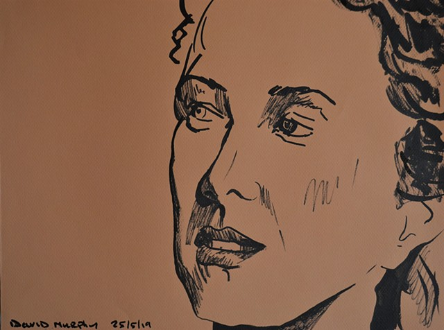 Sceptical Woman, drawing, brush and Indian ink, woman, portrait, david murphy, irish, ireland