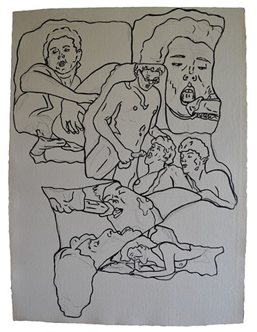 1993, Fragmented Love Drawing No. 1, david murphy, art, porn, ireland, dublin