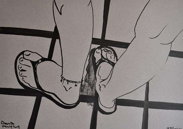 Woman's Feet in Flip-Flops No. 2, drawing, erotic, porn, brush and ink, david murphy, irish, ireland