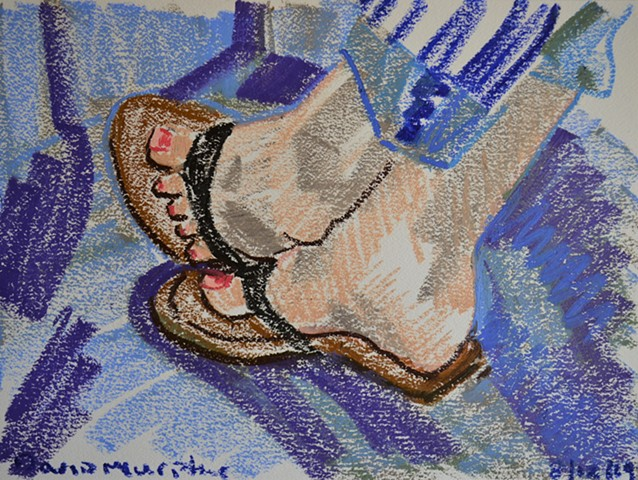 Woman in Flip-Flops, oil pastel, drawing, artwork, erotic, david murphy, irish, ireland