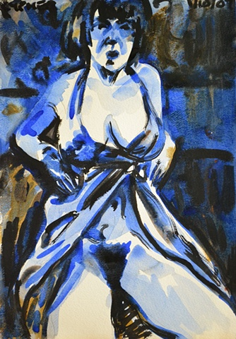 Semi-Nude Woman In Blue