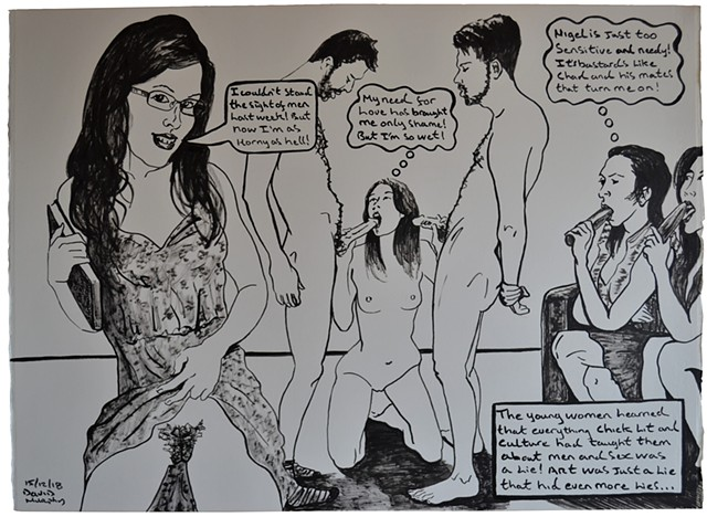 Chad and the students, erotic, cartoon, satire, porn, text, david murphy, irish