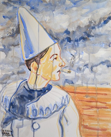 Clown Smoking, watercolour, 2014, david murphy