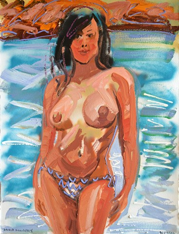 Topless Woman, david murphy, oil and spray paint