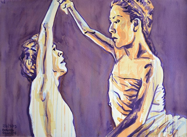 Ballet Dancers, Watercolour, Sketch, Drip, David Murphy, Cypher, The Panic Artist