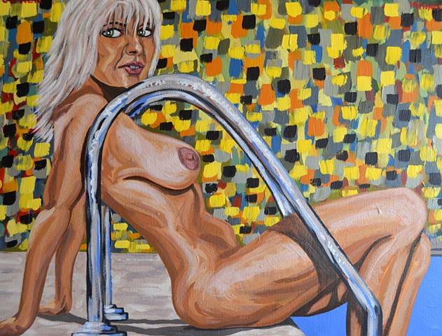 Nude By Pool, 2005,  acrylic, david murphy,