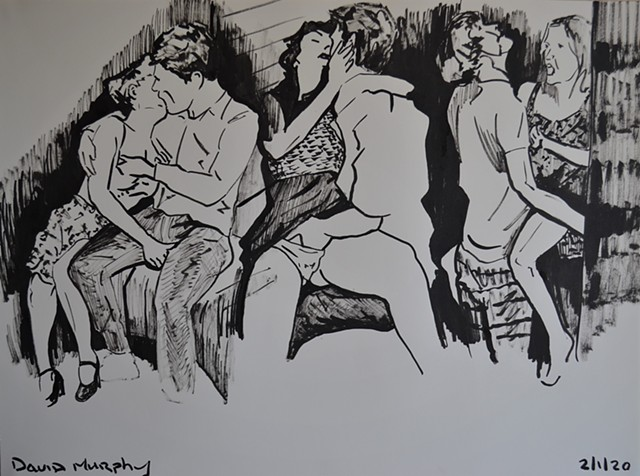 Lovers in Nightclub Studies, drawing, brush and Indian Ink, couples, sex, erotic, david murphy
