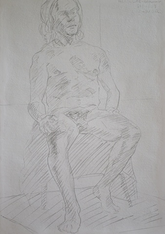 N.C.A.D. Seated Male Nude Sketch