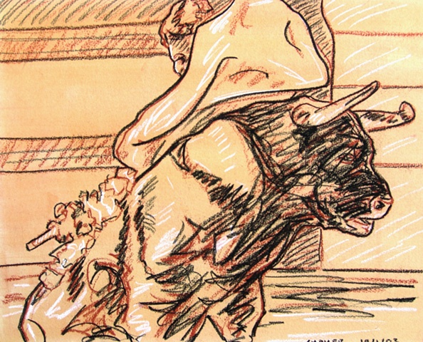 Bull Fight Drawing, 2003, david brendan murphy, cypher, the panic artist