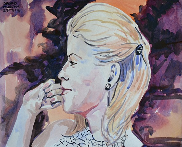 Amused Woman in Profile, watercolour, david murphy