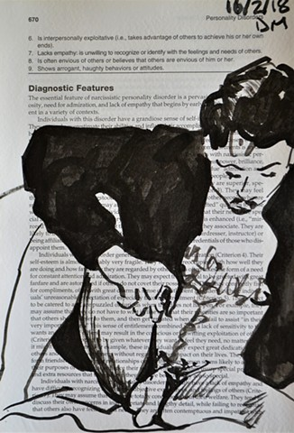 Narcissistic Self-Portrait, drawing, indian ink, psychiatry, mental health, madness, insanity, david murphy