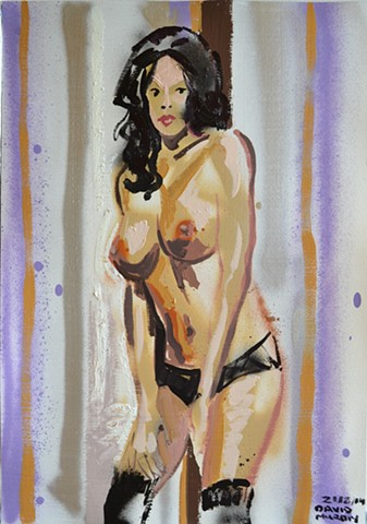 Pin Up, david murphy, oil and spray paint